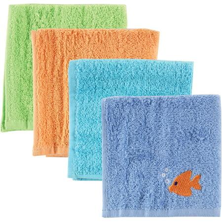 Luvable Friends 4 Pack Multi-Color Washcloths - Blue
