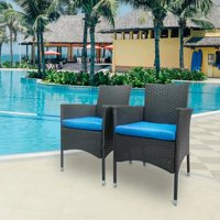 Akoyovwerve Wicker Patio Chairs Set of 2,Rattan Patio Lounges Lawn Chairs Outdoor Dining Chair Black