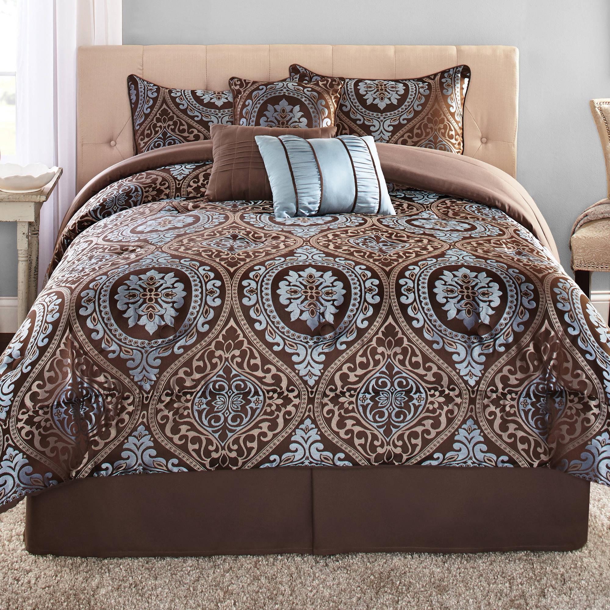 Mainstays Full or Queen Victoria Jacquard Comforter Set, 7 Piece
