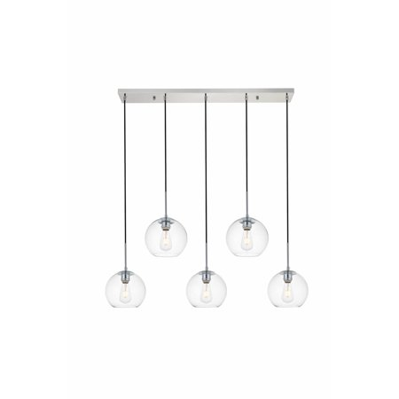 """Elegant Lighting LD2228 Baxter 5 Light 42"""" Wide Linear Pendant with Clear Glass"""