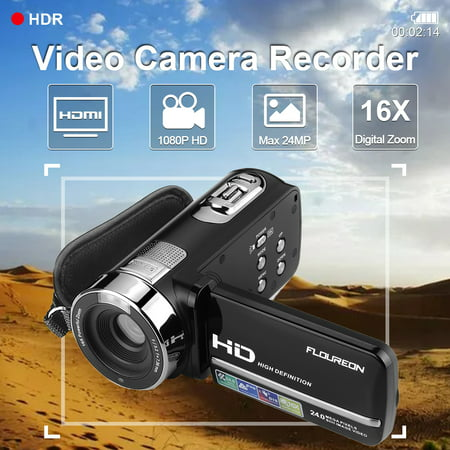 "Video Camera Camcorder Full HD Digital Camera 1080p 16X Digital Zoom Night  Vision Pause Function with 3 0"" LCD and 270 Degree Rotation Screen with"