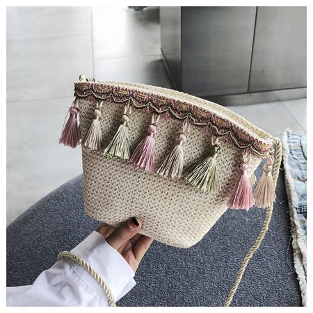 Fashion Summer Womens Weave Tassel Handbag Shoulder Messenger Bag Satchel Tote Purse Bag