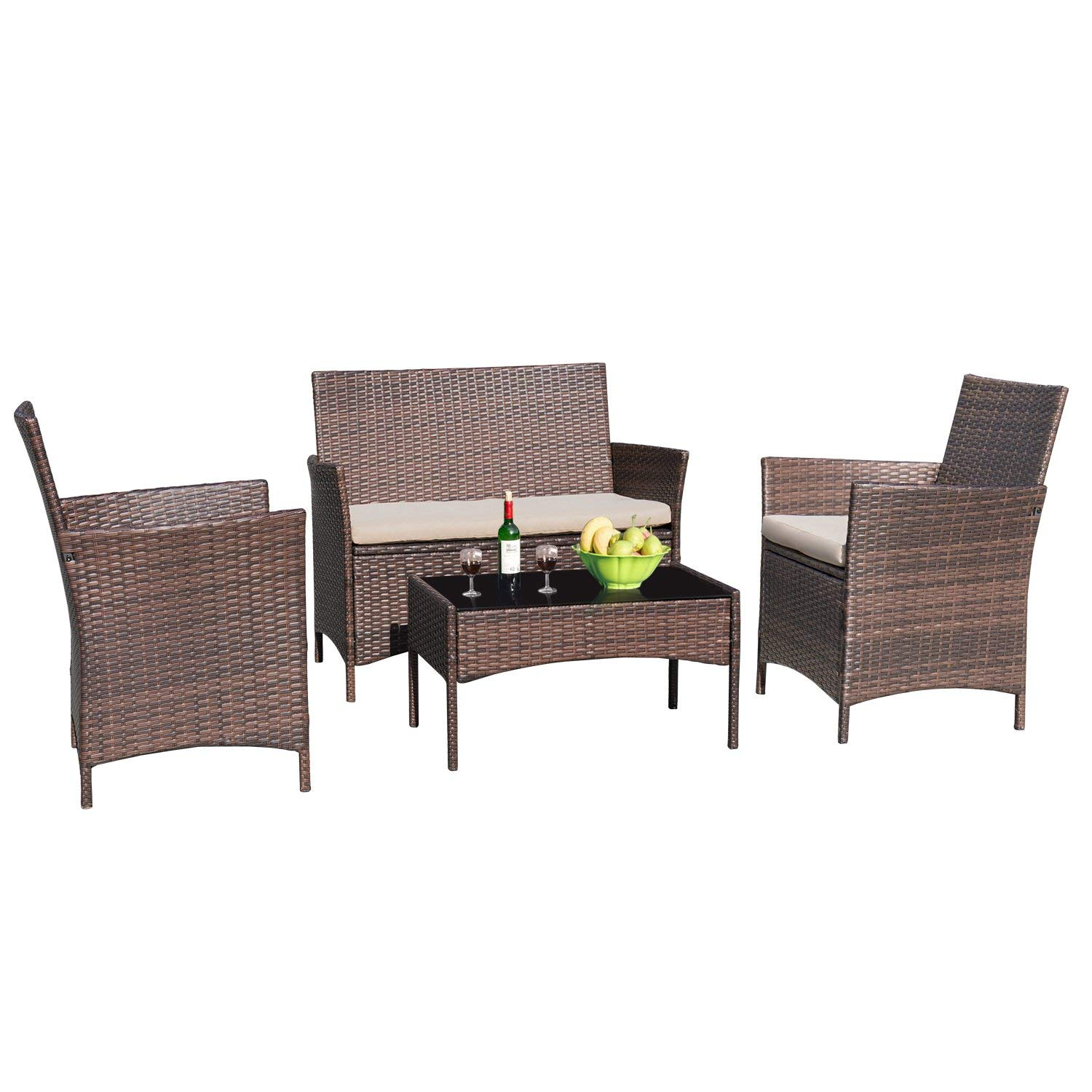 Walnew 4 Pcs Outdoor Patio Furniture Black Pe Rattan Wicker Table And Chairs Set Bar Balcony Backyard Garden Porch Sets With Cushioned Tempered Glass Beige Walmart Com Walmart Com