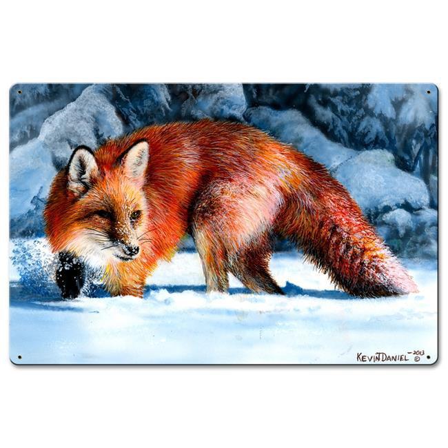 Kevin Daniel Art KDA054 16 x 24 in. Fox At The Pines Satin Metal Sign - image 1 of 1