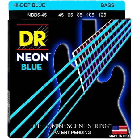 dr strings hi-def neon blue coated medium 5-string (45-125) bass guitar strings 5 String Medium Bass