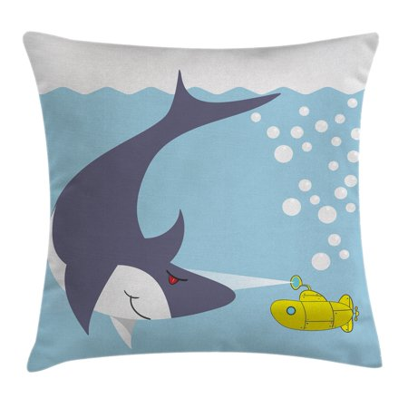 Yellow Submarine Throw Pillow Cushion Cover, Shark with Vessel in Ocean Bubbles Under Sea Theme Animals Cartoon, Decorative Square Accent Pillow Case, 18 X 18 Inches, Blue Gray Yellow, by Ambesonne