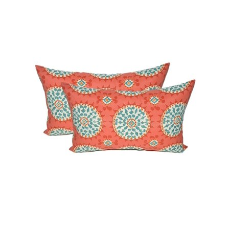 Set of 2 - Indoor / Outdoor Rectangle / Lumbar Decorative Throw / Toss Pillows ~ Red, Coral, Turquoise Sundial (Decorative Rectangle Toss Pillow)