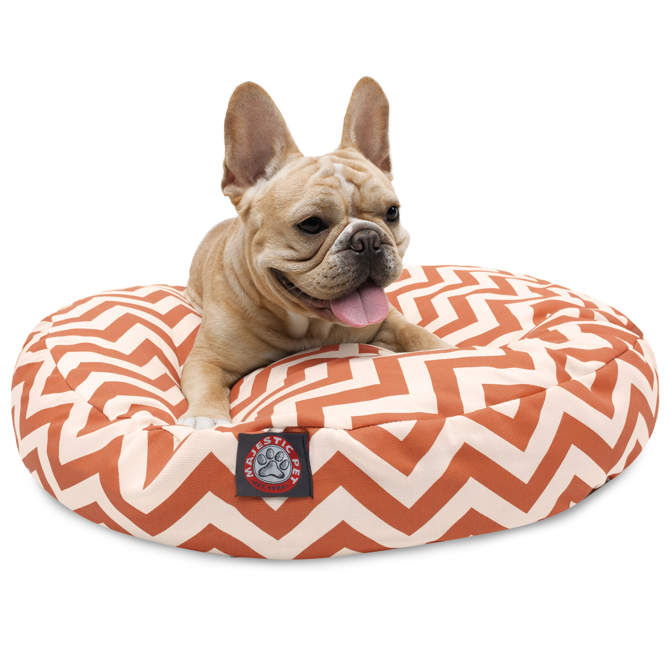 Majestic Pet Chevron Round Dog Bed Treated Polyester Removable Cover Machine Washable