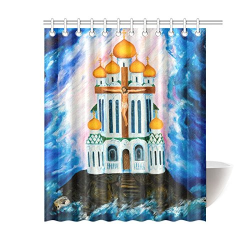 GCKG Sea Turtle Shower Curtain The Orthodox Church Polyester Fabric Bathroom Sets With Hooks 60x72 Inches