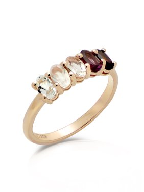 Sterling Silver 14K Gold Plated 6-Stone Oval Red Ombre Ring