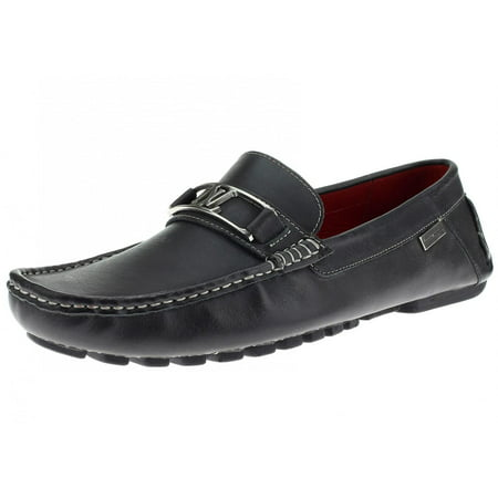 LN LUCIANO NATAZZI Mens Air Grant Bit Leather Shoes Slip-On Driving Moccasin Loafer Oily Black