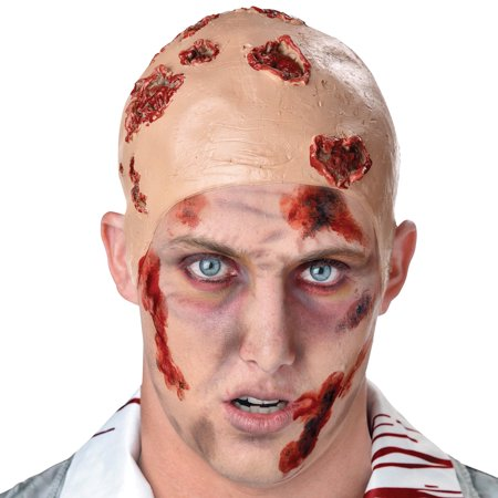 Seasons Halloween Zombie Infected Wound Bald Cap, Beige Red, One-Size