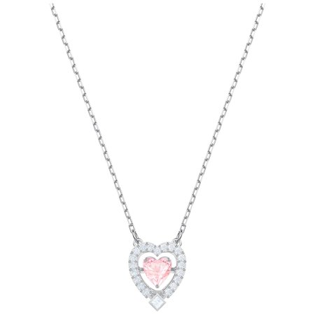 Belly Dance Necklace Choker - Swarovski Sparkling Dance Heart Necklace - Pink - Rhodium Plating