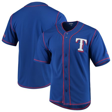 Texas Rangers Stitches Team Color Button-Down Jersey - Royal/Red ()