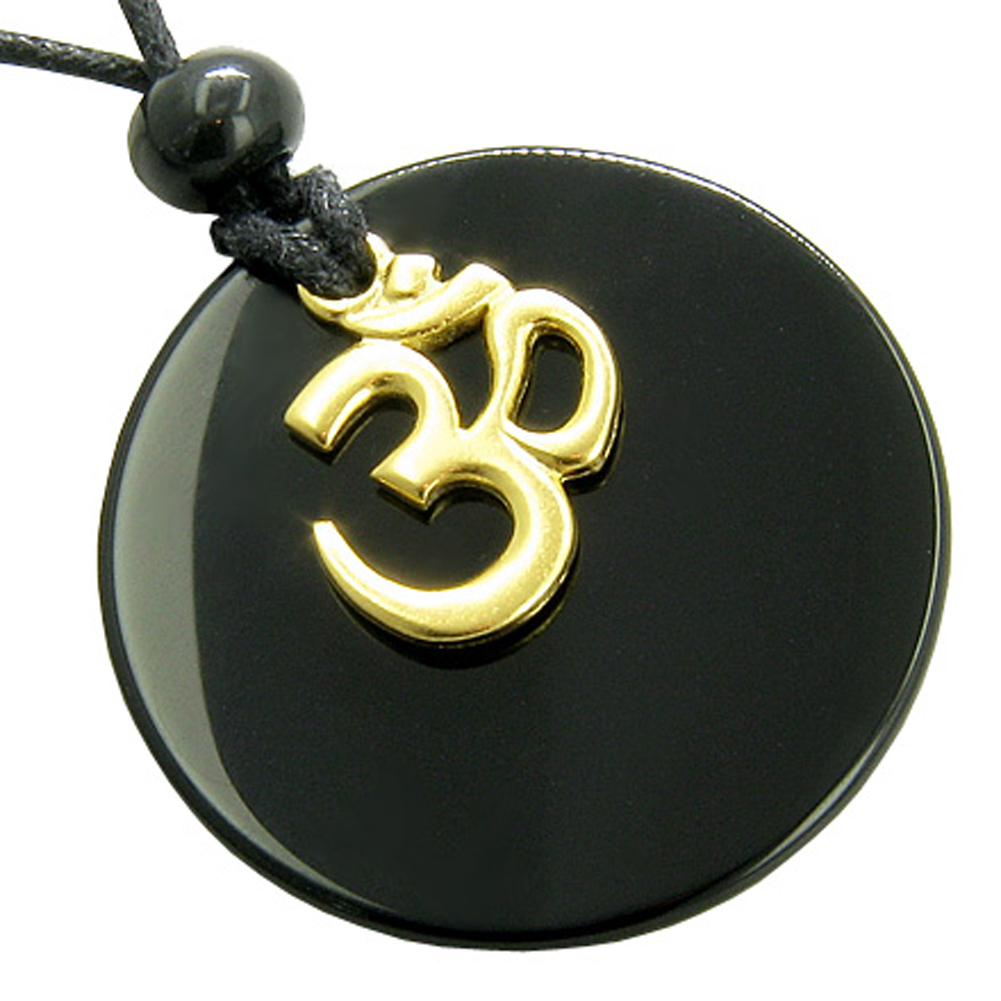 Black Agate OM Spiritual Talisman Circle Gem Crystal Pendant Necklace
