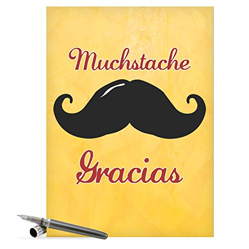 "J9953 Jumbo Funny Thank You Greeting Card: 'Mustache Gracias Thank You' with Envelope (Extra Large Size: 8.5"" x 11"")"