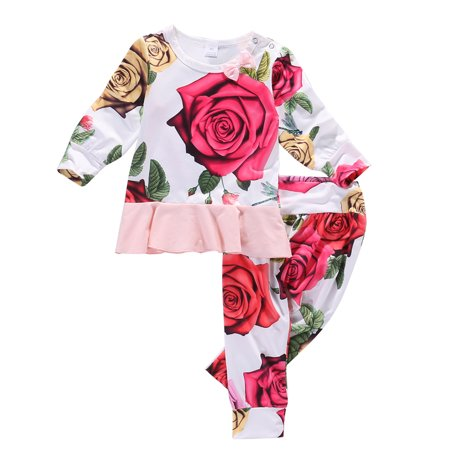 Cute Newborn Kid Baby Girl Tops Romper Floral Pants Outfits Set Clothes 0-6 Months - Cute Children Outfits