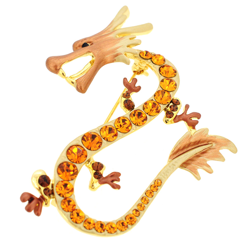 Topaz Yellow Brown Dragon Swarovski Crystal Pin Brooch by