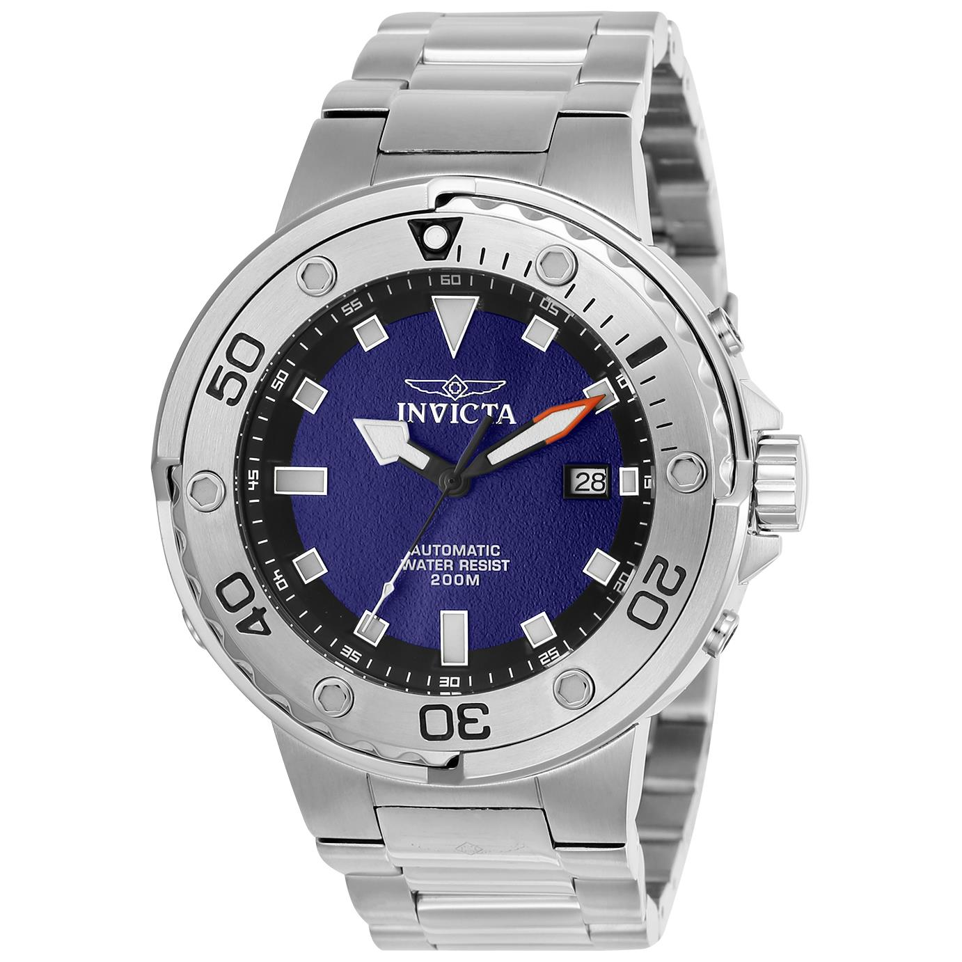 Men's Invicta Pro Diver Men's Stainless Steel Automatic Watch Black Silver Bracelet Automatic Stainless Steel