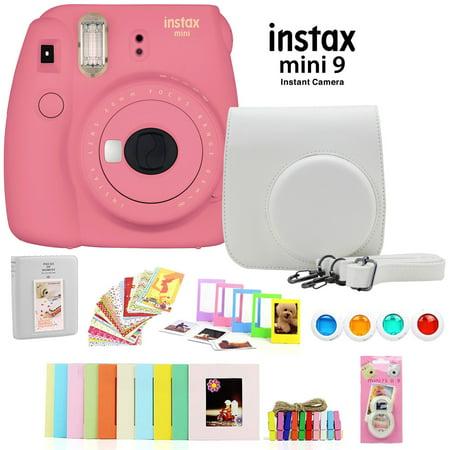 Fujifilm Instax Mini 9 Instant Camera (Flamingo Pink) w/ Deco Gear Accessory