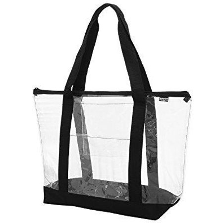 ensign peak clear zipper tote with color trim and bottom, black trim,one size
