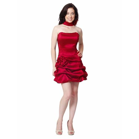 Red Strapless Structured Gathered Bottom Cocktail Dress ()