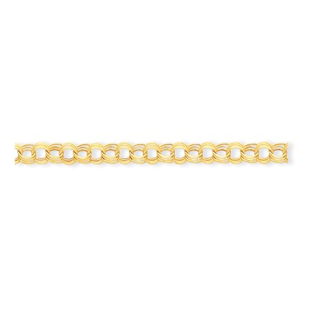 14k Yellow Gold Lite 8.5mm Triple Link Charm Bracelet 7 (Marine Links 14k Gold Bracelet)