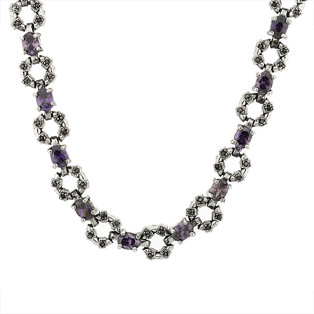 Sterling Silver Cubic Zirconia Amethyst Donut Marcasite Necklace, 16 inch long by WorldJewels