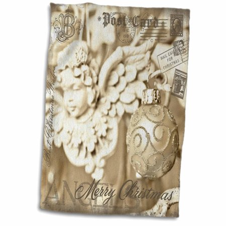 3dRose Mixed Media Art Christmas Photography Collage With Angel - Towel, 15 by 22-inch