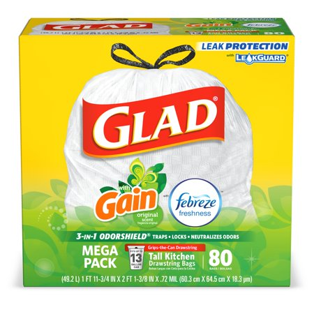 Glad Tall Kitchen Drawstring Trash Bags - OdorShield 13 gal White Trash Bag, Gain Original with Febreze Freshness - 80 -