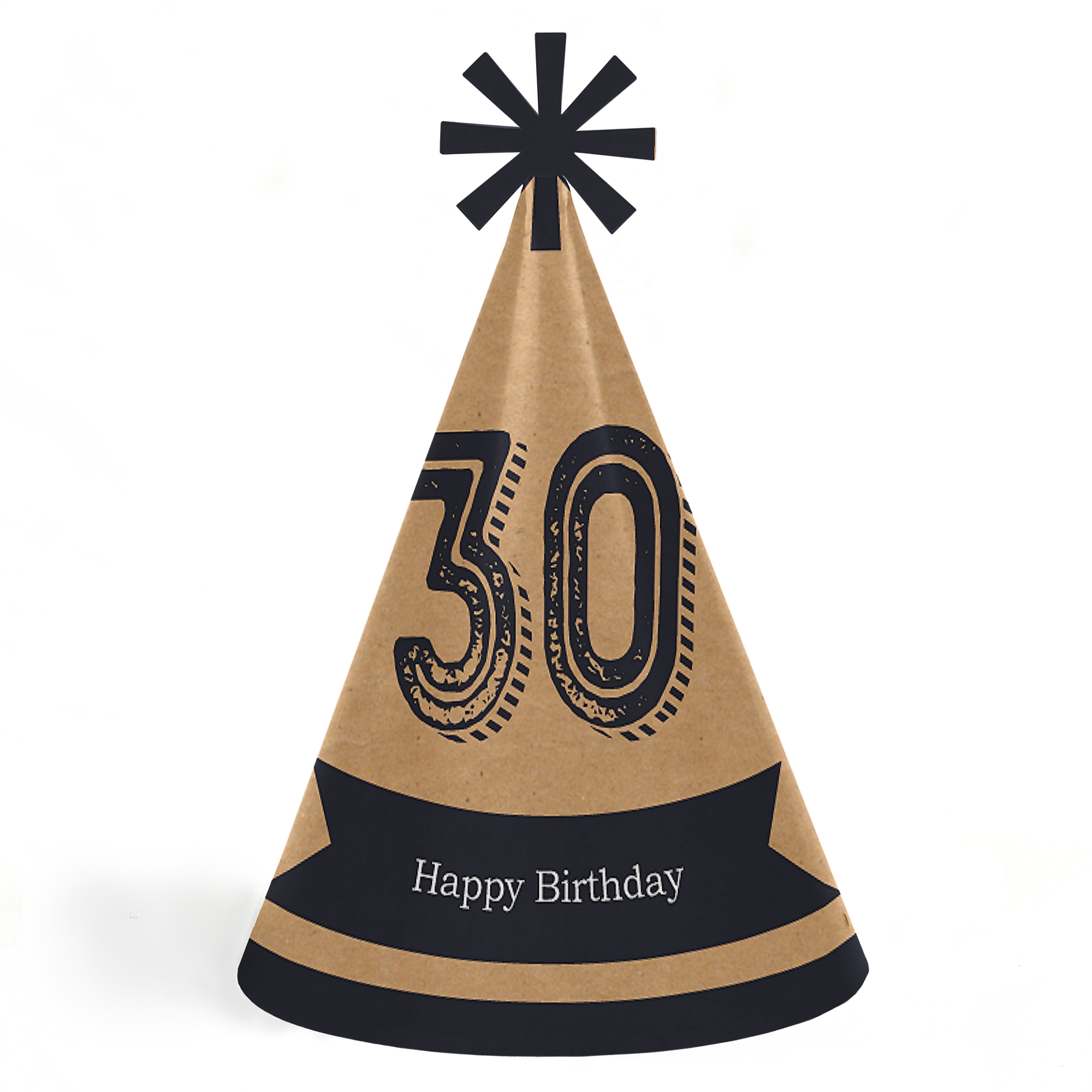 30th Milestone Birthday - Cone Happy Birthday Party Hats for Kids and Adults - Set of 8 (Standard Size)