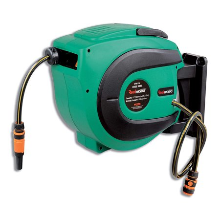 REELWORKS Water Hose Reel Heavy Duty Retractable with 1/2 in. x 50 ft. Rubber Hose, Max. 150PSI