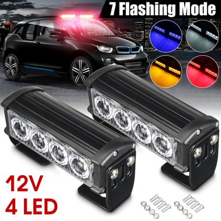 2x 12V LED Warning Light Strobe Flash Flashing Hazard Grille Beacons Light Lamp Bulb Red/Blue