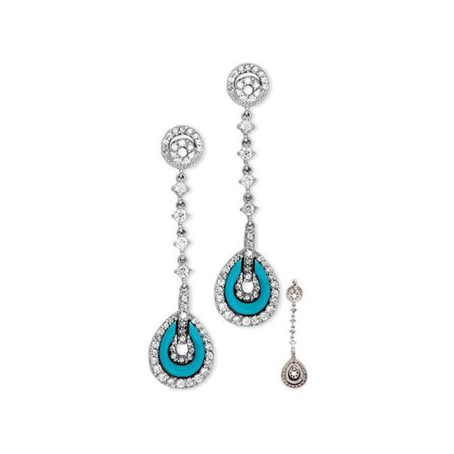 CZ EAR1161-T C. Z.  Diamond Turquoise Silver Teardrop Linear Earrings