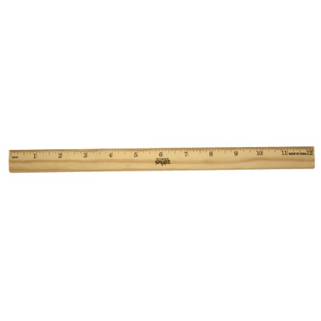 School Smart Single Beveled Plain Edge Wood Scale Ruler, 12 in L X 7/8 in W X 5/32 in Thickness, 1/16 in Scaled, Clear