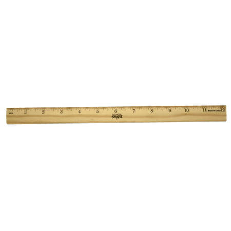 School Smart Single Beveled Plain Edge Wood Scale Ruler, 12 in L X 7/8 in W X 5/32 in Thickness, 1/16 in Scaled, Clear Lacquer Double Beveled Edge Ruler