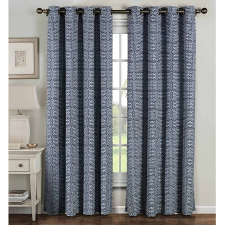 Greek Key Cotton Blend Extra Wide Grommet Curtain Panel Pairs