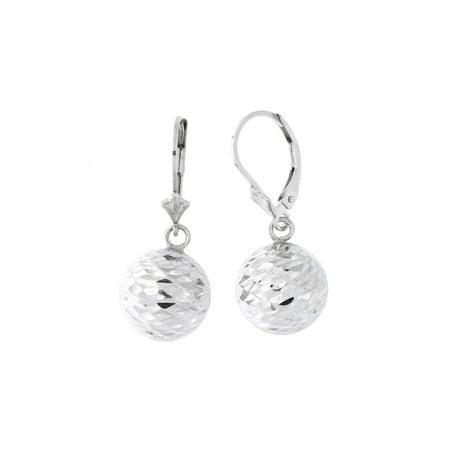 Sterling Silver Rhodium Plated Diamond Cut Ball Dangle