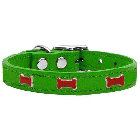 Red Bone Widget Genuine Leather Dog Collar Emerald Green 16