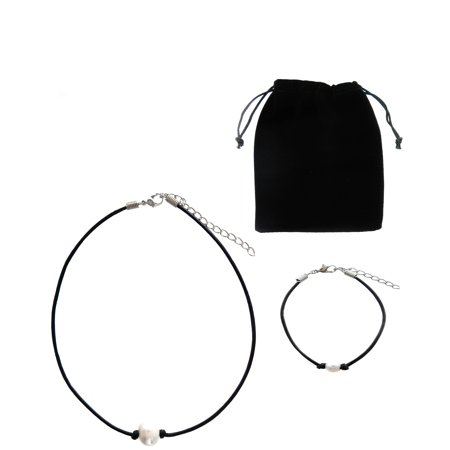 Cultured Pearl Pearl Brooch - Frogsac Set-2 Freshwater Cultured Pearl Leather Necklace & Bracelet Set
