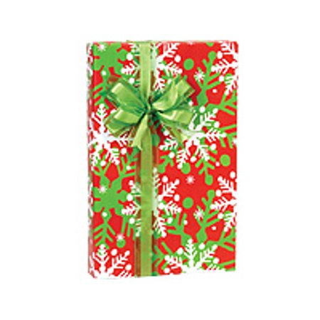 Red and Green Snowflakes Holly Jolly Flakes Holiday /Christmas Gift Wrapping Paper 16ft](Snowflake Paper)