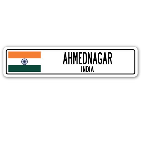 - AHMEDNAGAR, INDIA Street Sign Indian flag city country road wall gift