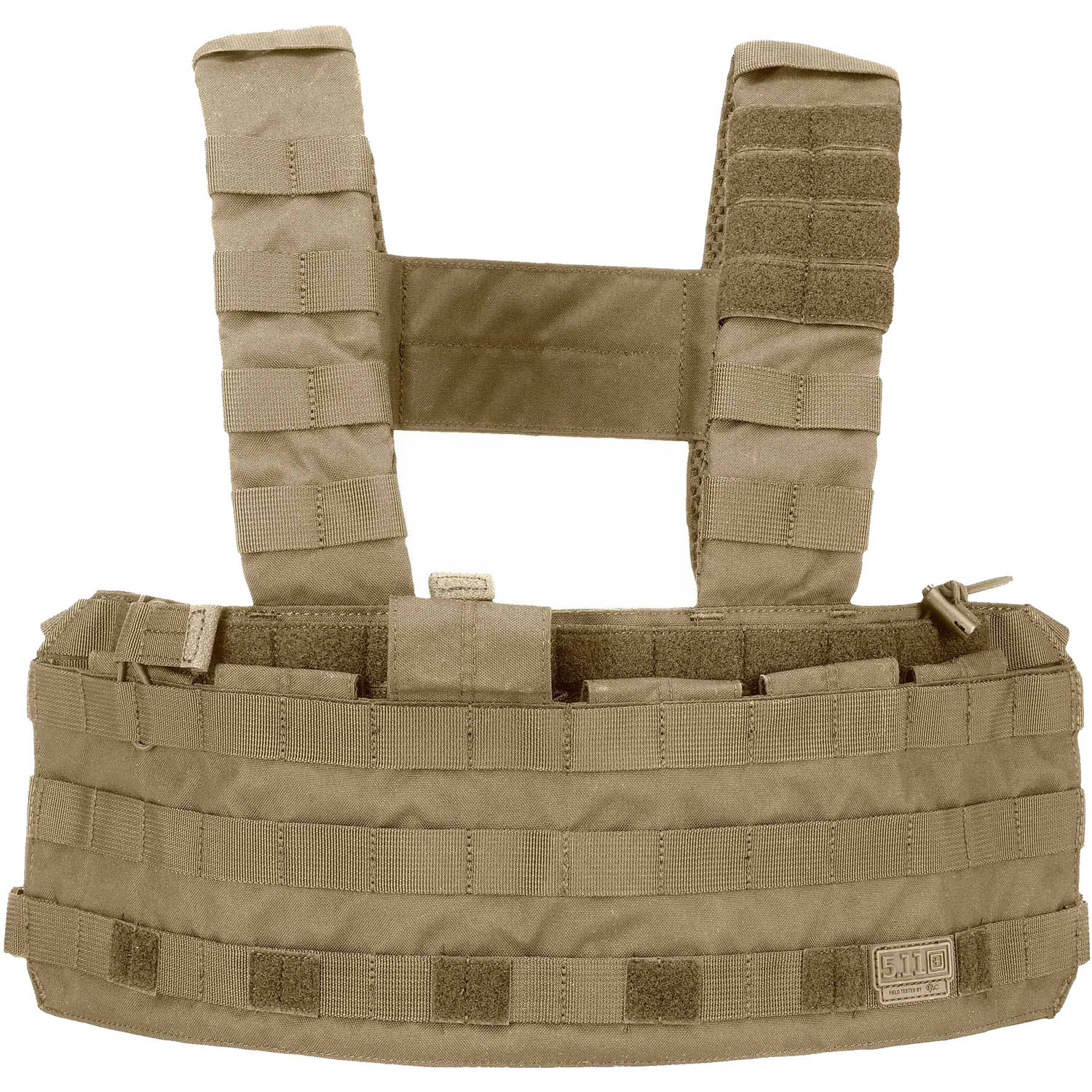 5.11 Tactical Tactec Chest Rig with Molled Exterior Webbing and Padded Shoulder Straps, Sandstone