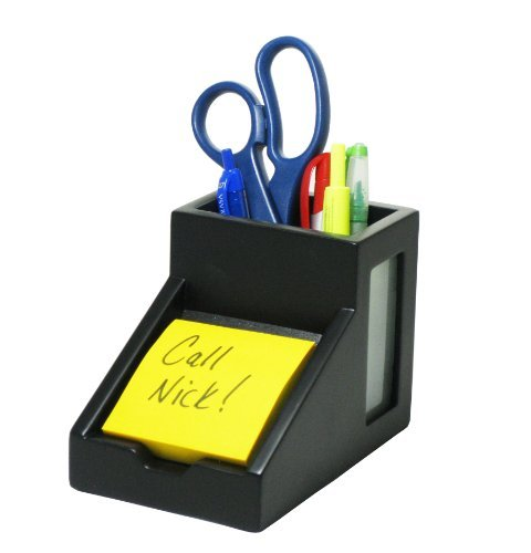 "Victor Midnight Black Pencil Cup With Note Holder - 4.4"" X 5.6"" X 3.9"" - Wood, Glass - 1 Each - Black (VCT95055)"