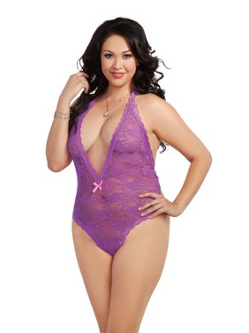 1511c32633 Product Image Sexy Plus Size Halter Lace Heart Cut Out Back Teddy Lingerie.  Dreamgirl