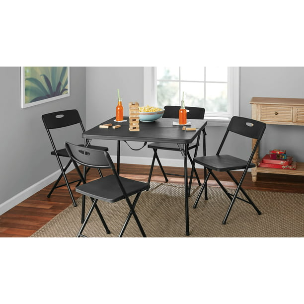 Mainstays 5 Piece Resin Plastic Card Table and Four Chairs Set, Black
