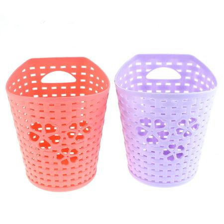 Coral Heart (Unique Bargains Hollow Out Heart Storage Basket Container Coral Pink Purple 2)