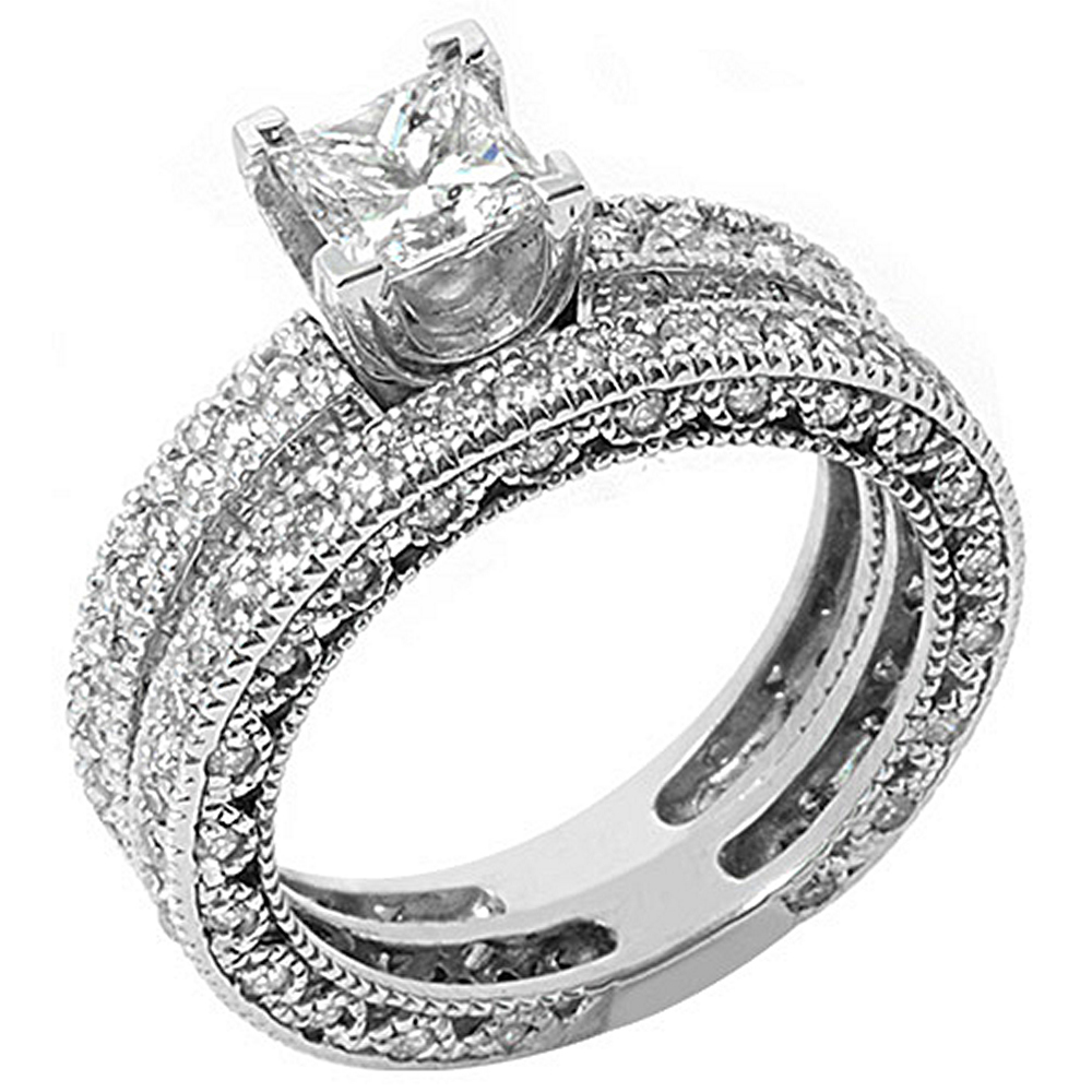 14k White Gold Princess & Pave Diamond Engagement Ring Bridal Set 2.25 Carats
