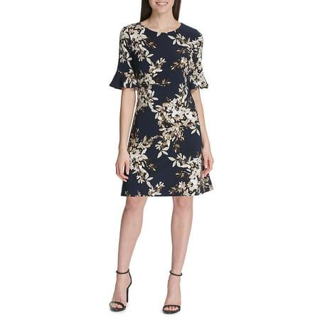 Brushstroke Bouquet Flutter-Sleeve Jersey Dress Kaleidoscope Jersey Dress