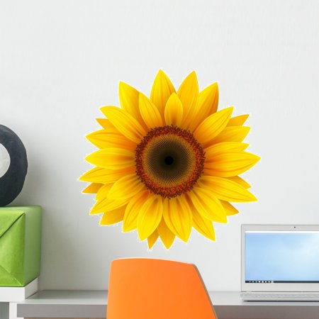 Sunflower Vector Wall Decal by Wallmonkeys Peel and Stick Graphic (18 in W x 18 in H) WM124156 ()